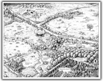 black and white illustration of field